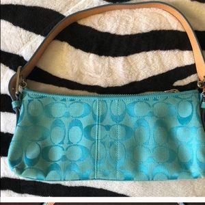 👛Small Coach turquoise handbag